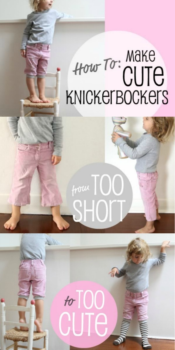 How to Refashion too short pants into Knickerbockers - mypoppet.com.au
