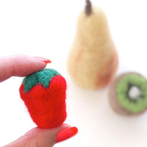needle felted strawberry