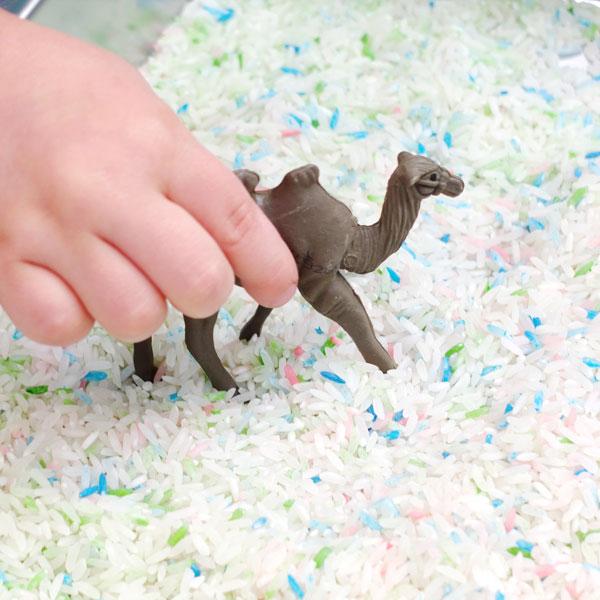 sensory play coloured rice tray