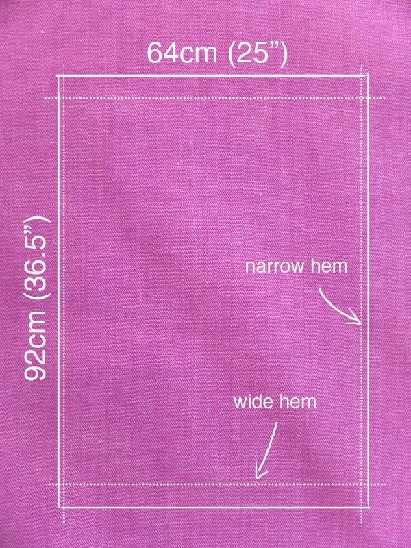 Purple denim fabric with advent calendar measurements