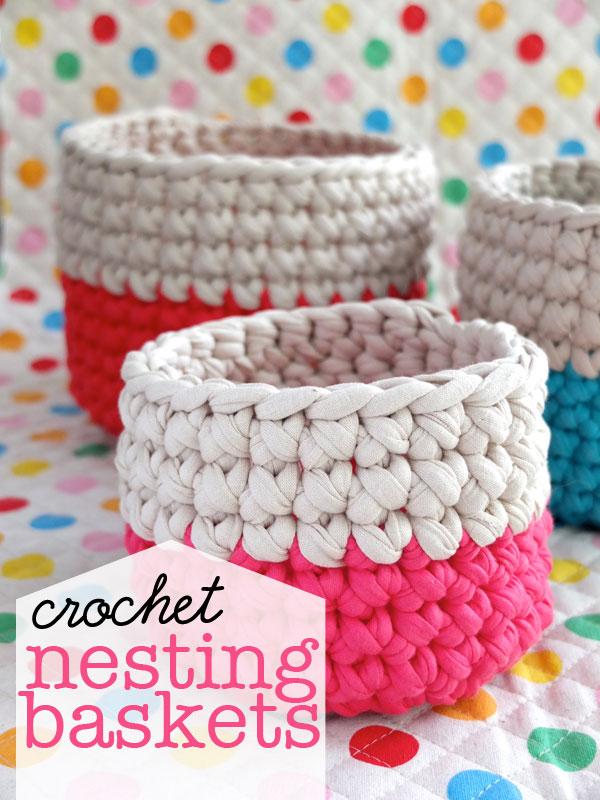 crochet baskets zpagetti yarn
