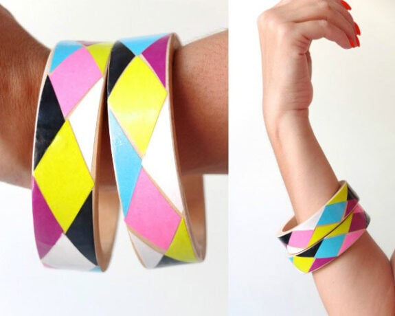 DIY wooden decoupage bangle design