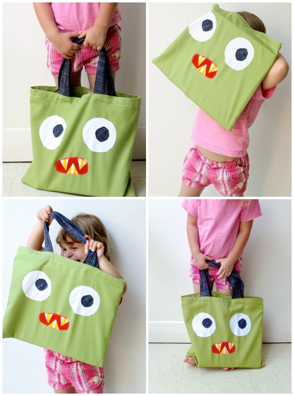 green monster bag tote Halloween DIY