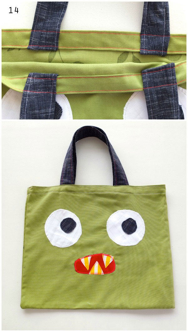 Monster face tote book bag