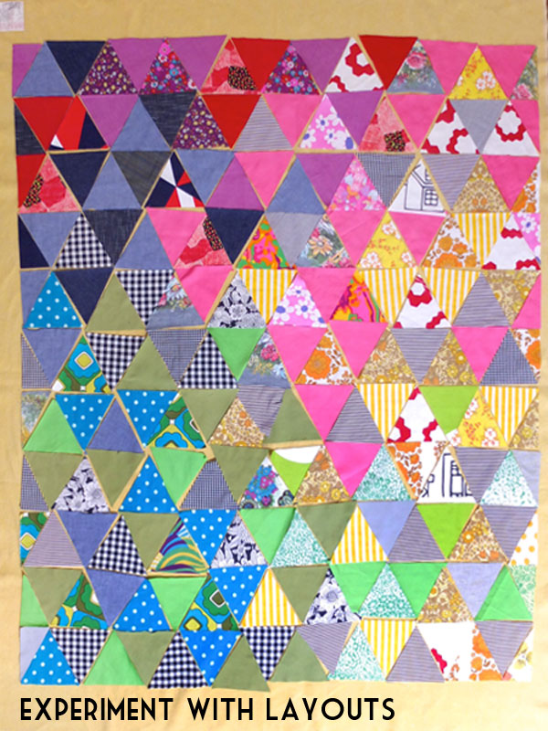 rainbow triangle quilt layout