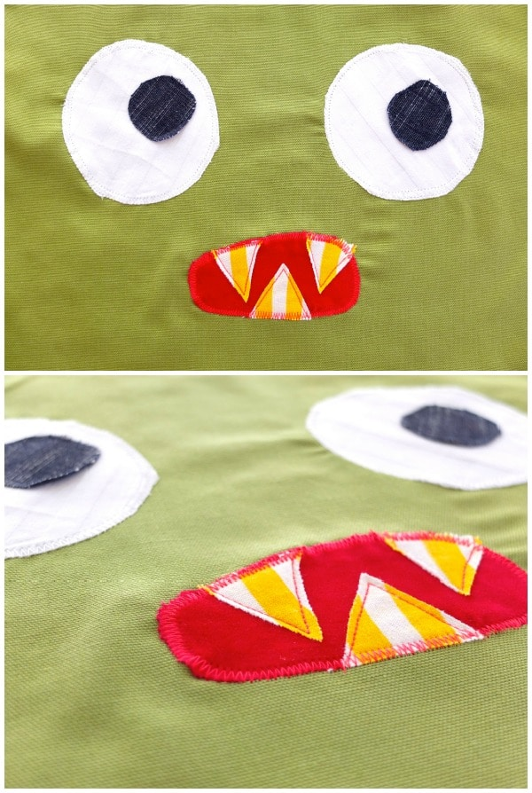 Monster face applique template