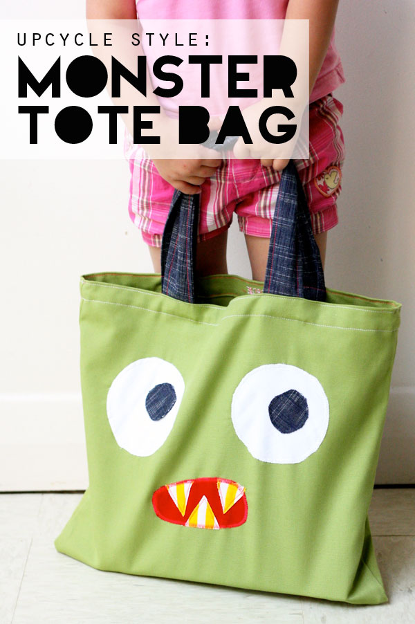 DIY monster face tote bag