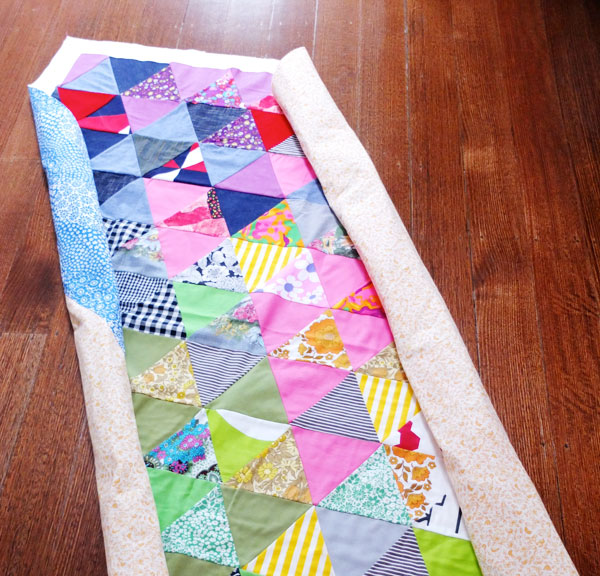 roll eges of quilt - quilting tutorial My Poppet.com.au