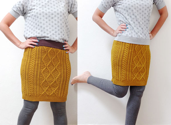 Mustard Cable knit skirt DIY
