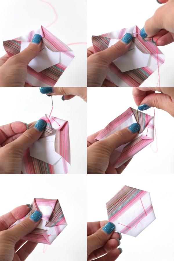 Stitching paper hexagon instructions and template