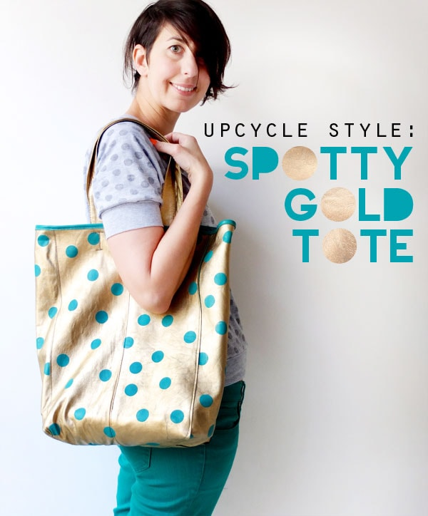 Upcycle style: Gold leather tote bag mypoppet.com.au