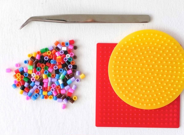 fuse beads with peg board and tweezers