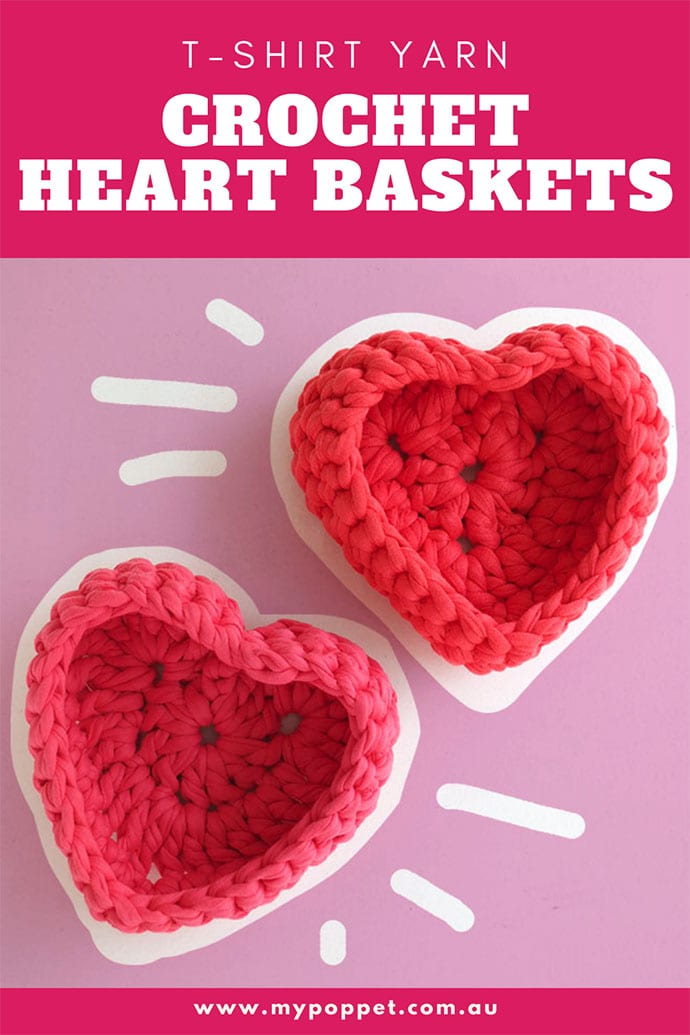 T-shirt yarn heart shaped baskets crochet pattern