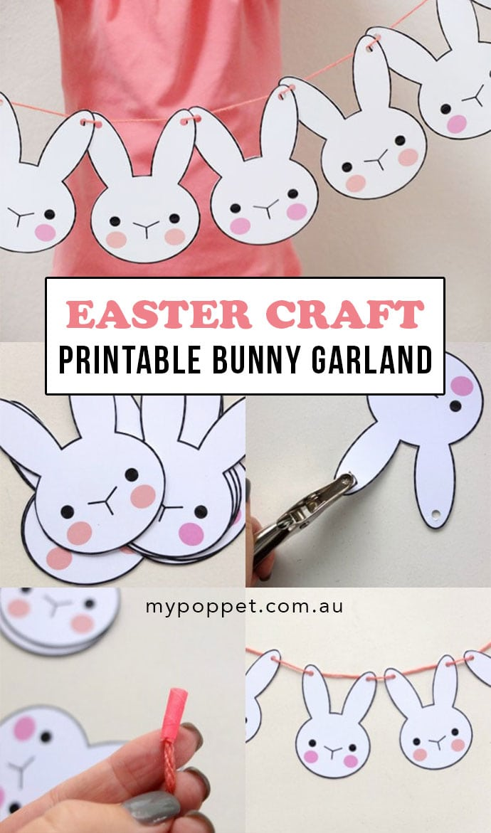 Collage showing the steps required to make a Easter Bunny Garland - mypoppet.com.au