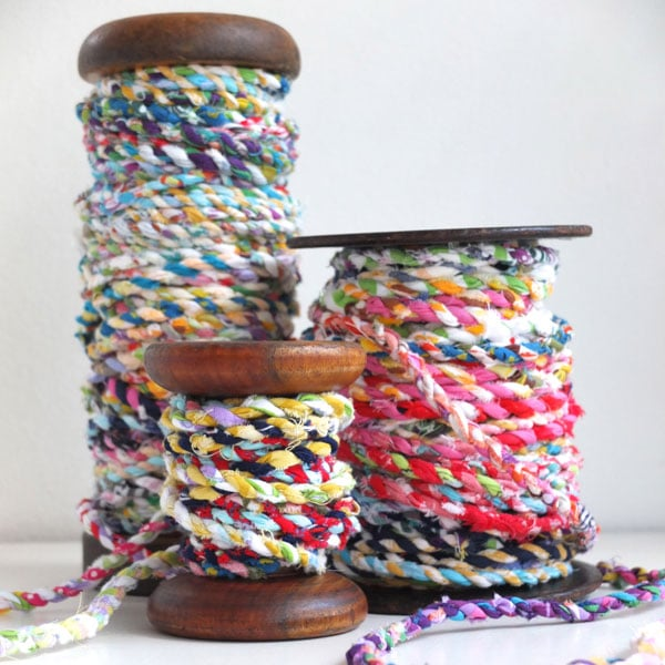 fabric rope on vintage spools