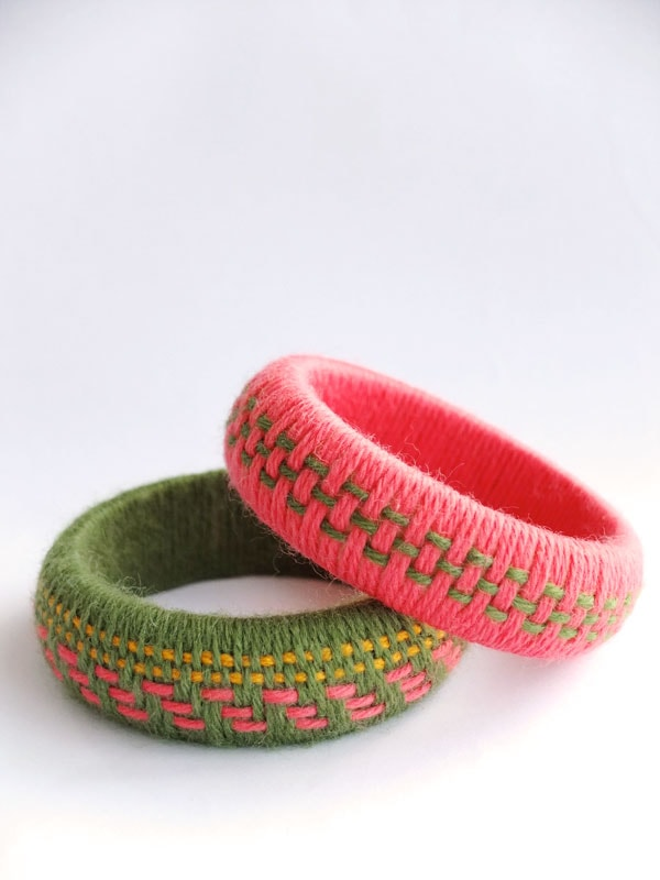 Fun Accessory DIY Woven Yarn Bangles