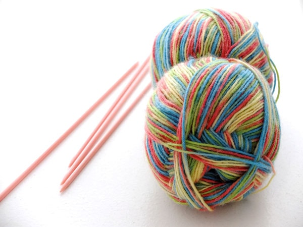 knitting yarn and double ended needles