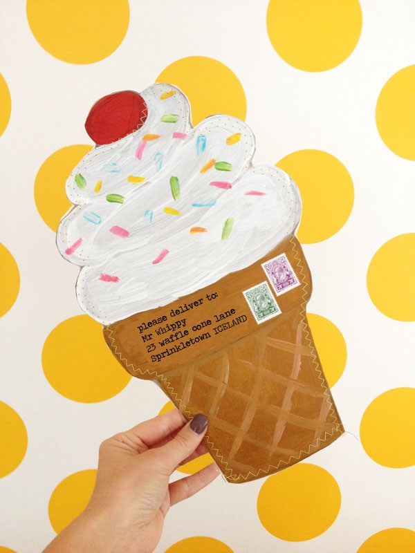 DIY ice cream cone envelope - so much fun to send to pen pals mypoppet.com.au