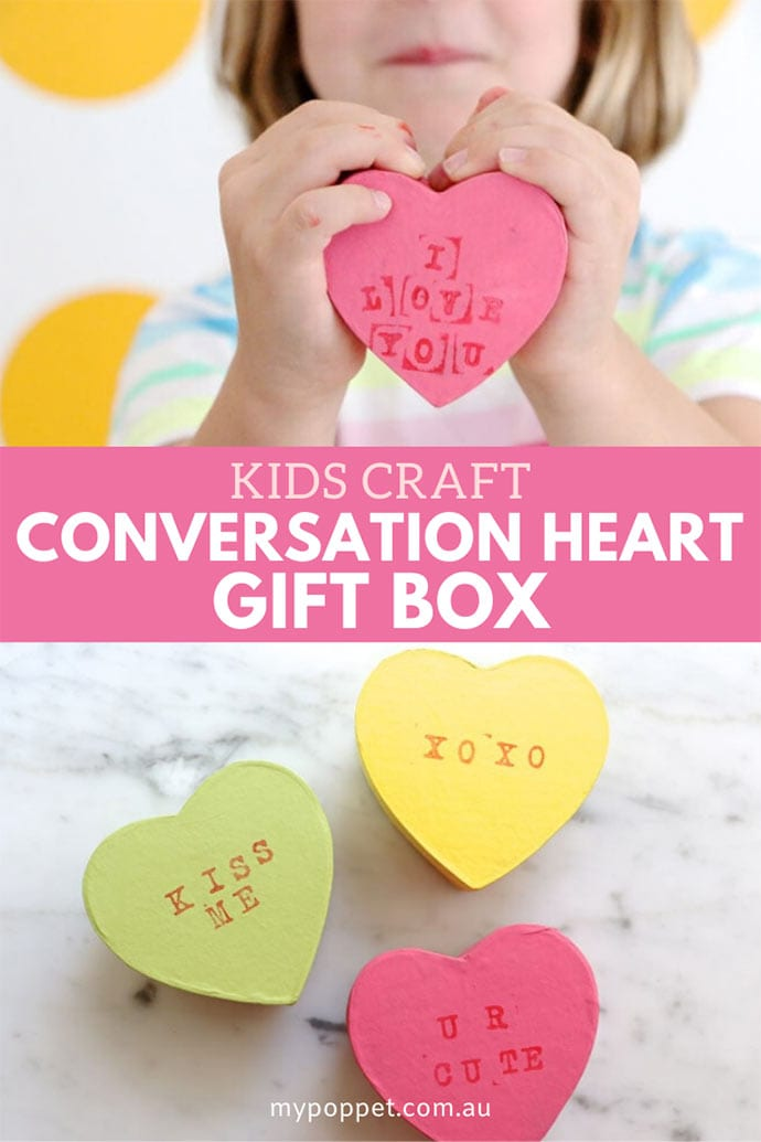 Valentines craft heart shaped Gift Box - Kids craft activity - mypoppet.com.au