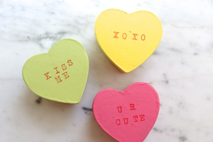 Kids Craft: Make some cute conversation heart gift boxes for Valentine's Day or inexpenive wedding favors