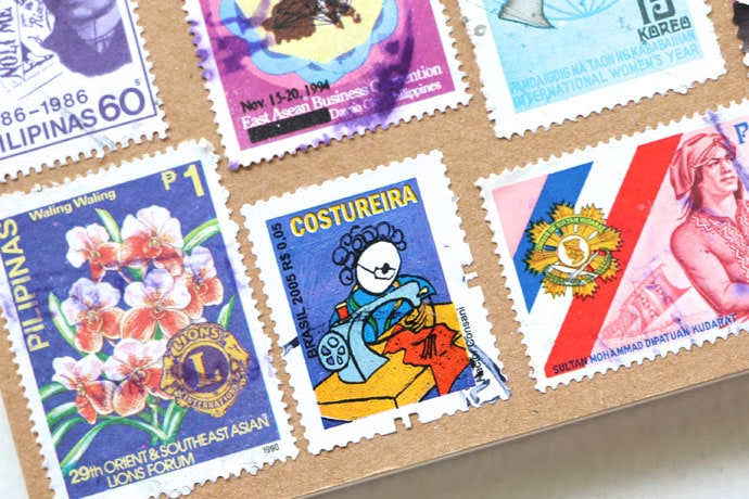 Sewing themed stamp from Brazil