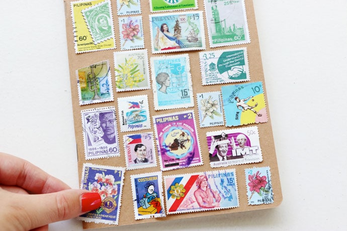 Make a stamp covered notebook