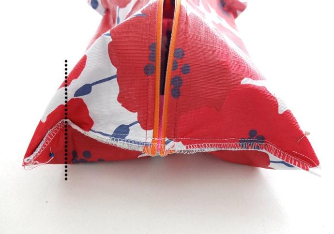 box corner zippered pouch pattern