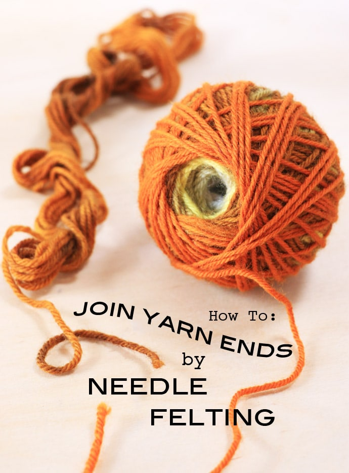 Knitting Joining Yarn New Ball : How to join yarn ends by needle felting my poppet makes