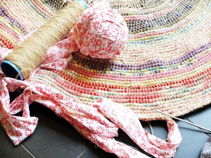 scrap fabric coil rug