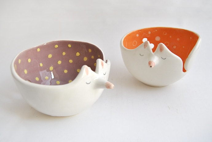 Ceramic Fox Yarn Bowl