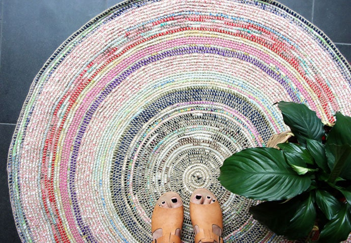 Coil + Crochet Scrap Fabric Rug