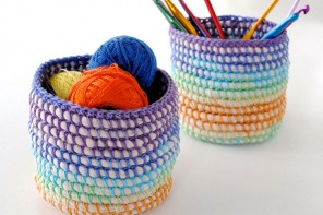 Coil + Crochet Rainbow Basket DIY