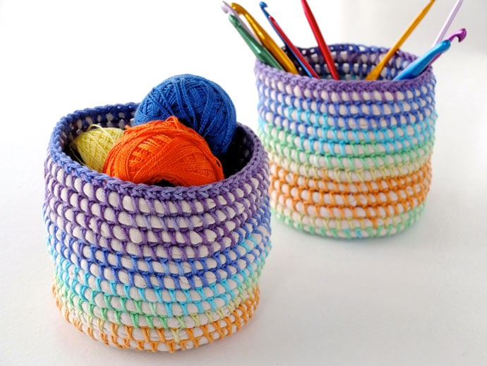 Coil + Crochet Rainbow Basket DIY on MyPoppet.com.au/Makes