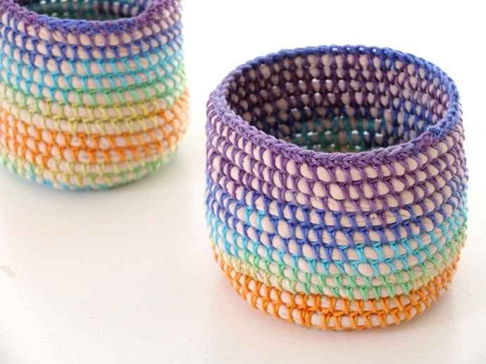Coil Crochet Rainbow Basket Diy Poppet Makes