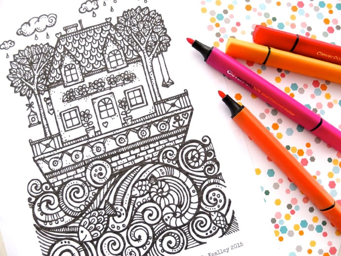 Free Printable Colouring Page Houseboat