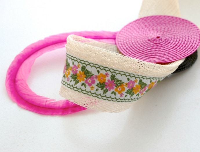 Vintage ribbon trim on facinator head piece