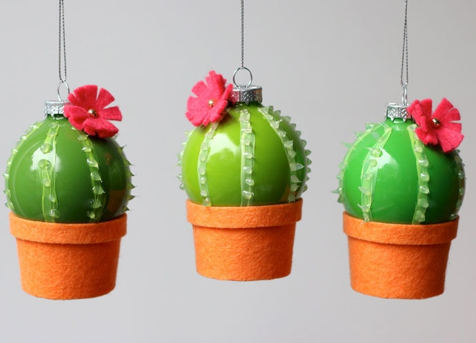 Mini glass cactus christmas ornaments DIY  craft instructions