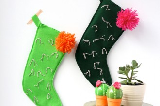 DIY cactus christmas stocking