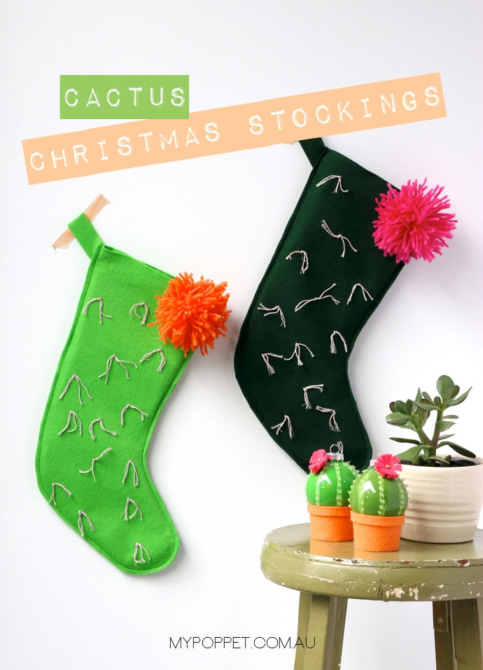 diy cactus christmas stockings with free pattern my poppet makes