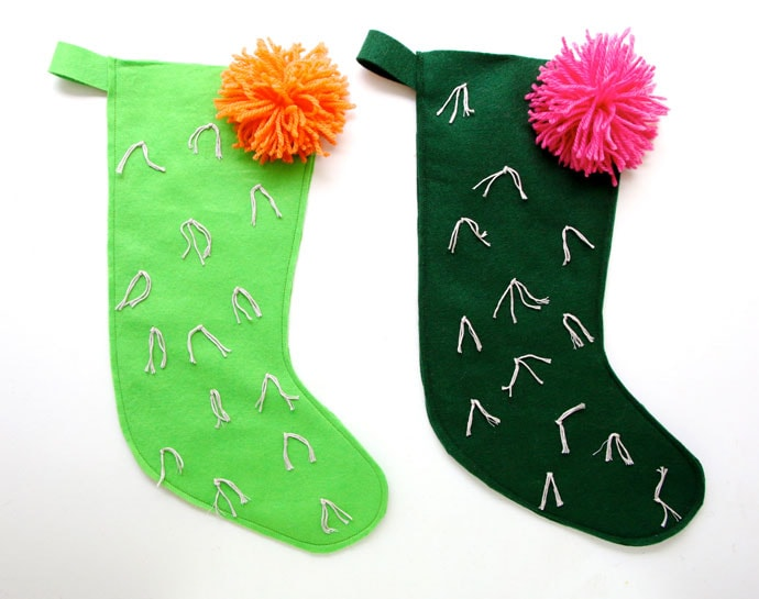 DIY cactus christmas stocking