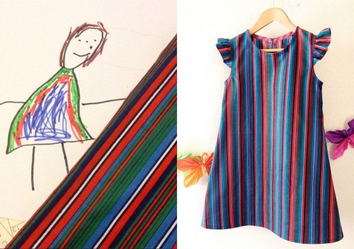 Emma designed her own dress in 2014 - I was particularly pleased to find a fabric in my stash that matched her drawing.