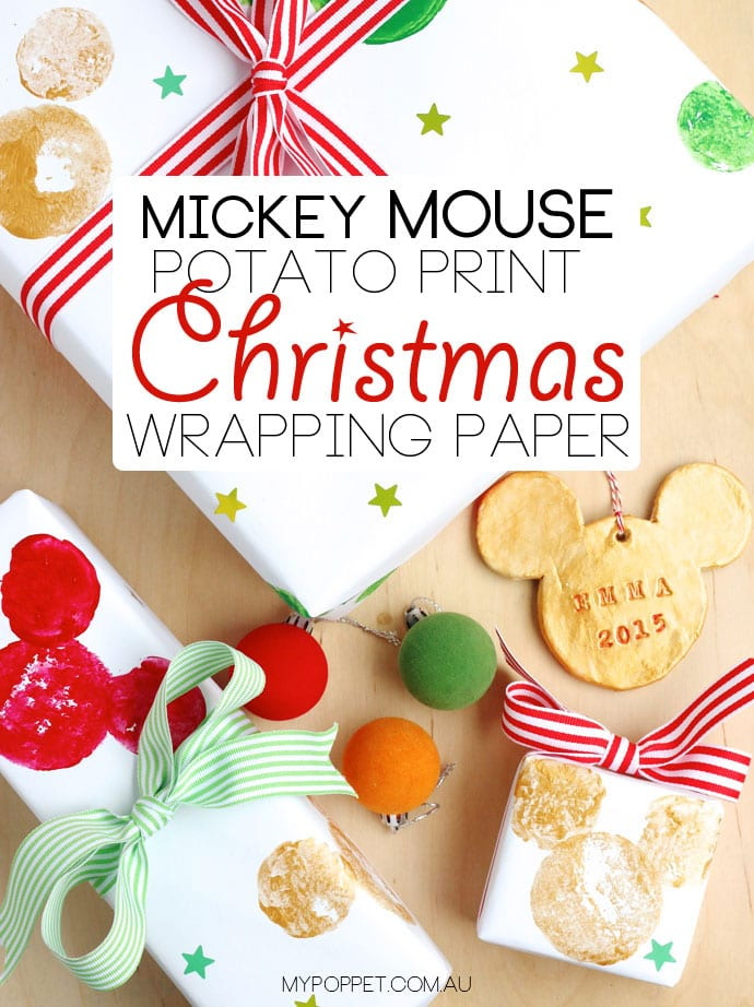 DIY potato print Disney Mickey mouse wrapping paper