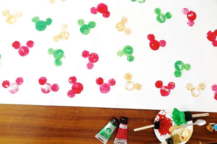 DIY potato print Disney Mickey mouse wrapping paper