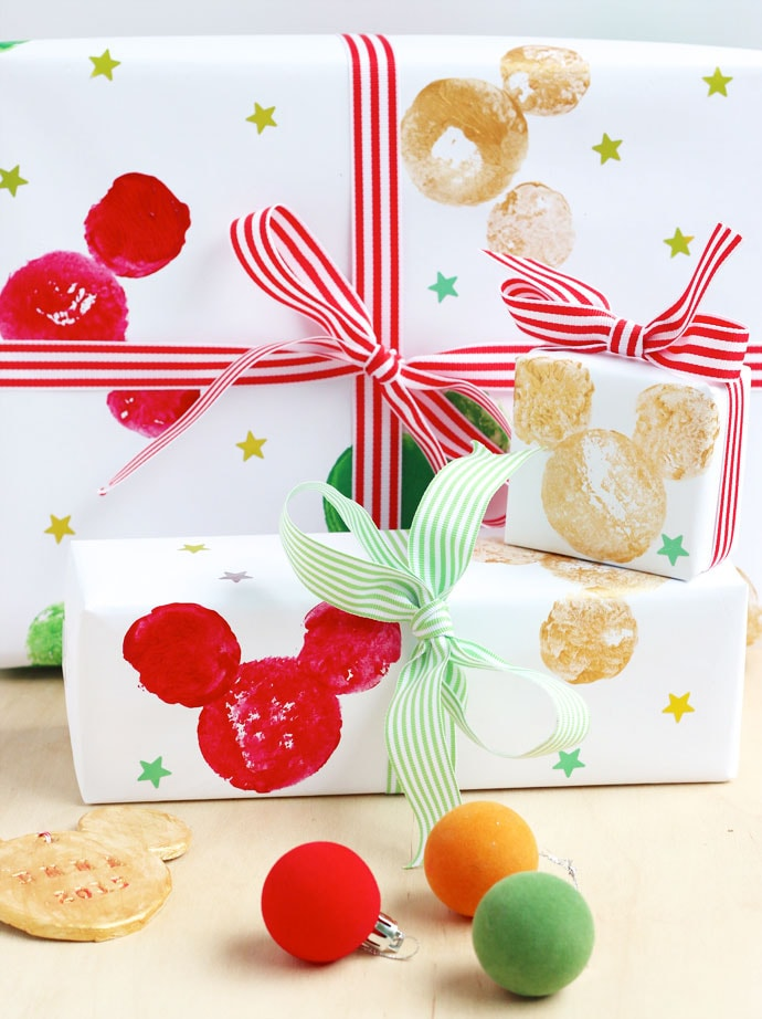 DIY potato print Disney Mickey mouse wrapping paper mypoppet.com.au