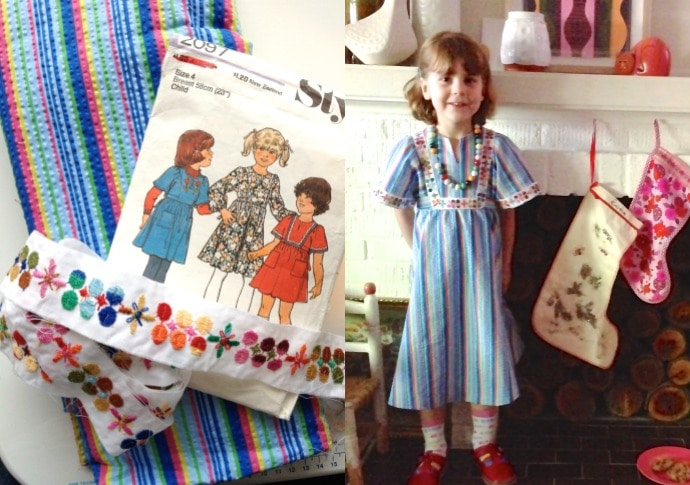 Emma's dress 2013 - Emma wanted a rainbow dress. The vintage trim really sets off the style.