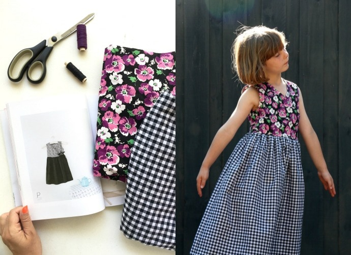 Christmas dress 2015 - Emma likes wearing black at the moment so this style from a Japanese sewing book really appealed to her. Both the floral and the gingham are from my vintage fabric collection.
