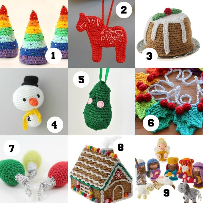 Etsy PDF crochet pattern roundup - christmas ornaments