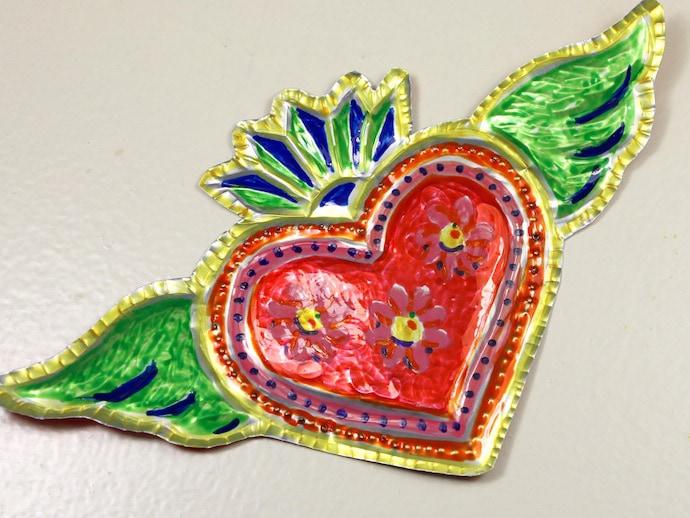 metal mexican fold art heart diy