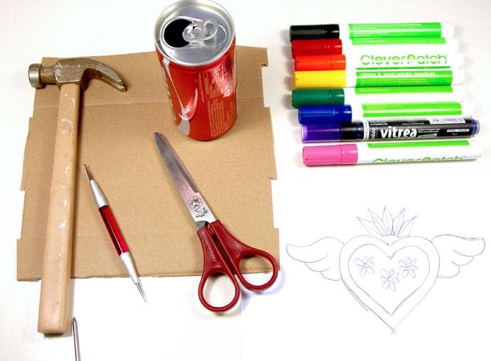 Tin heart supplies