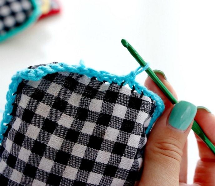 crochet decorative edging on herb sachet